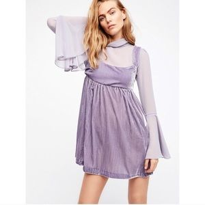Free People Counting Stars Lavender Mini Dress